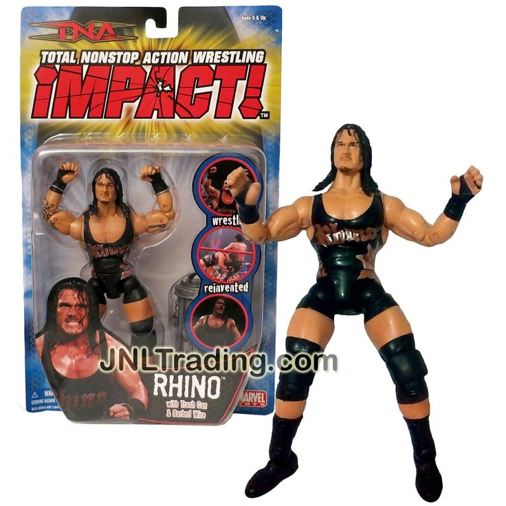 Marvel Toys Year 2006 Total Nonstop Action TNA Wrestling Impact Series 7 Inch Tall Figure - RHINO with Trash Can and Barbed Wire