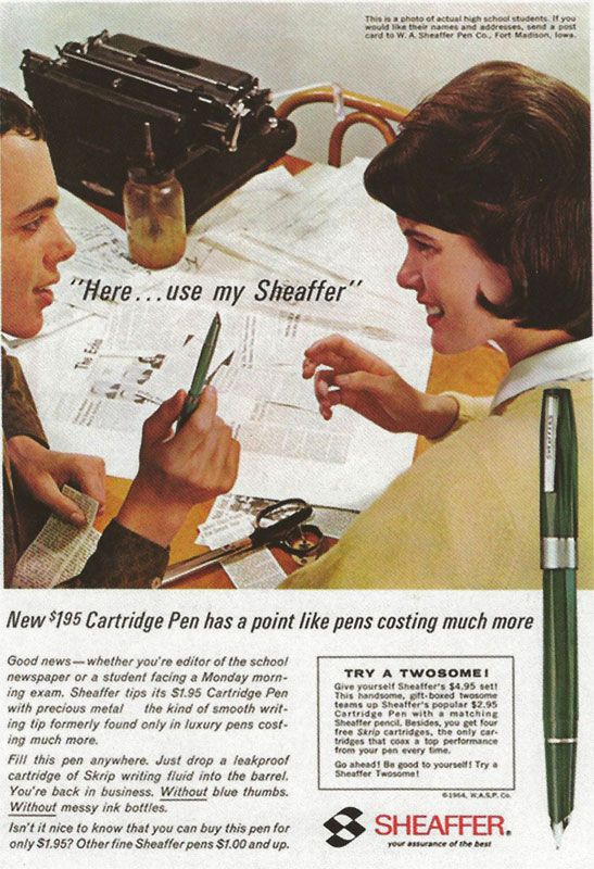 Sheaffer's new cartridge pen at $1.95 - bargain!