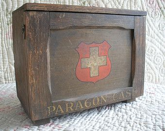 Vintage first aid box cabinet by Paragon + contents, dated 1926 Home Office, oak