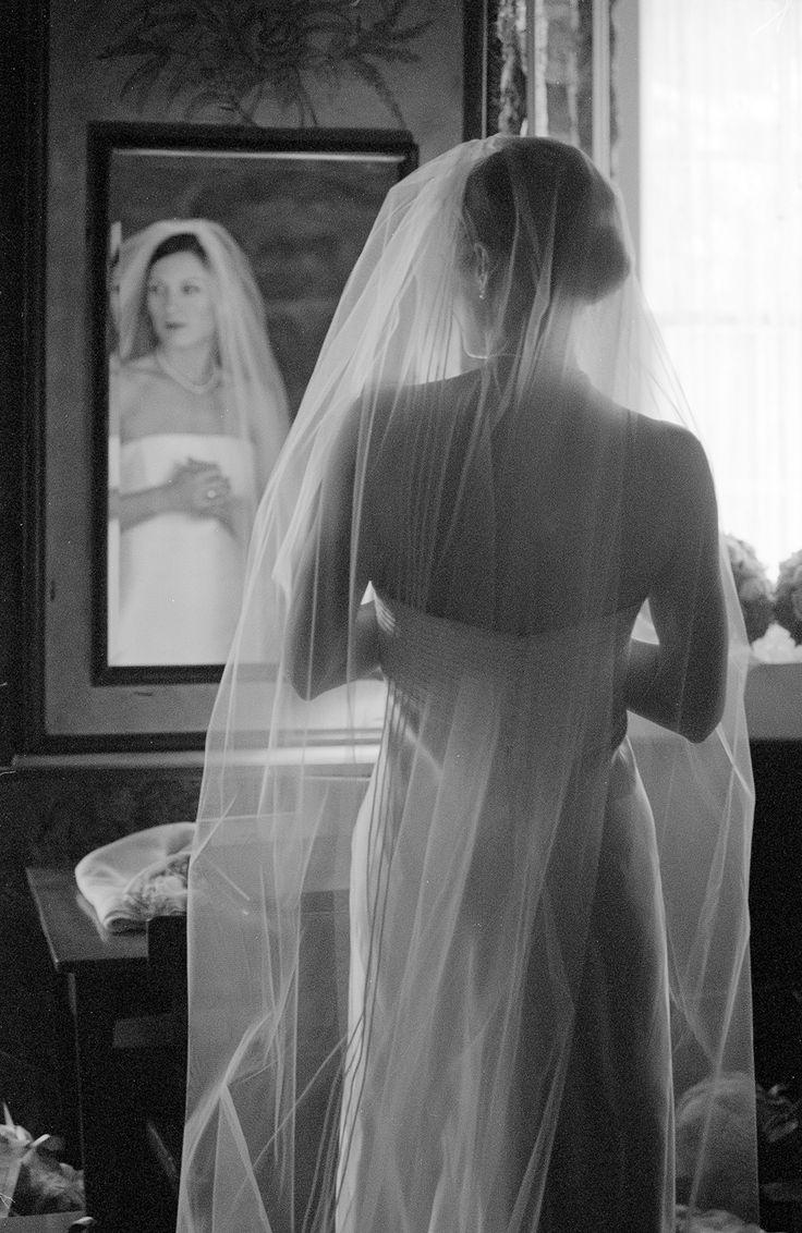 Bridal portrait; Bride getting ready, mirror, veil @hollyhedgeestate   #summerweddings  #buckscountyweddings  #hollyhedgeestate  #hollyhedge  #photooftheday  #blackandwhite   #B&W  #veils  #mirror  #film #filmweddings #bride #weddings