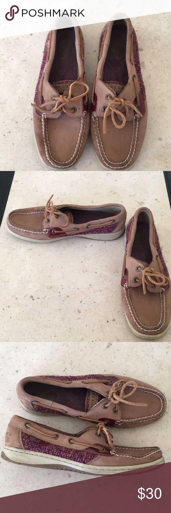 Sperry Topsider with Maroon Purple Pink Tweed Reasonable offers are gladly accepted! Items from smoke and pet free home Fast same or next day shipping Any flaws are noted in description/photos Packaging recycled/reused-please recycle Please reach out with any questions! Like/follow for frequent sales/new inventory Thank you for visiting my closet! Sperry Shoes Flats & Loafers