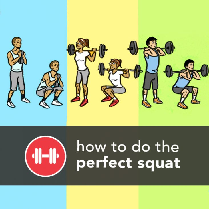 Squat like a pro: good alignment=heels down, knees over your 2nd &3rd toes, hips and shoulders move back.