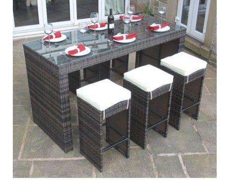 Paradise Brown Rattan Outdoor Garden Furniture 7 Piece Bar Set