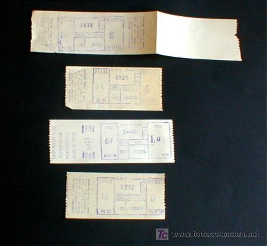 Billetes del autobús. Madrid, años 80