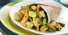 Wrap gevuld met kip curry sperziebonen en wortel