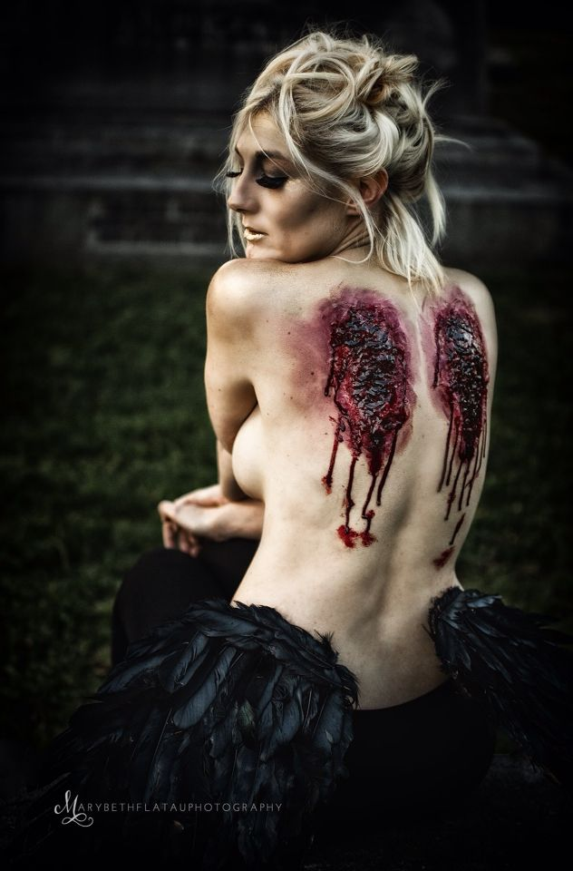 Halloween costume special effects synthetic makeup -- Fallen Angel by @the_atomic_blonde , follow her on Instagram