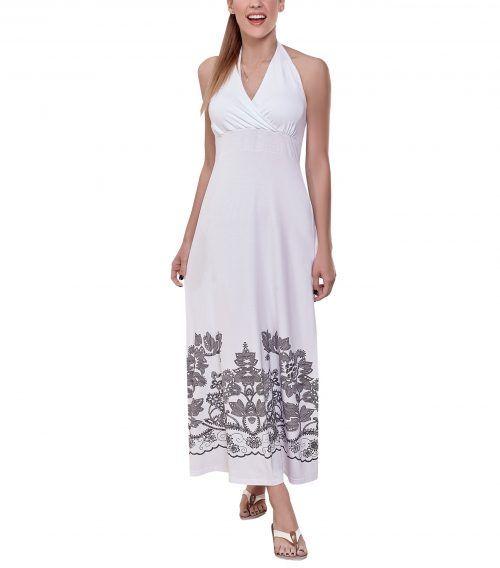 μαξι λευκο φορεμα με σχεδιο