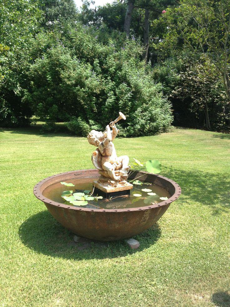 Sugar Kettle, Turned Into A Modern Garden Fountain Statue
