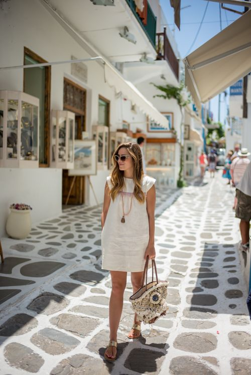 Gal Meets Glam - 2015 July 6 - A Day in Mykonos - Location: Mykonos, Greece - Outfit Details: Look 1: Reformation Dress, Bulgari Sunglasses c/o, Joie Sandals, Figue Bag