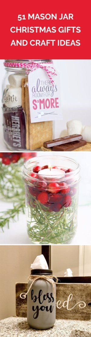 51 Mason Jar Christmas Gifts and Craft Ideas   Find the best craft ideas for how to decorate mason jars, for Christmas gifts that everyone on your list will love.