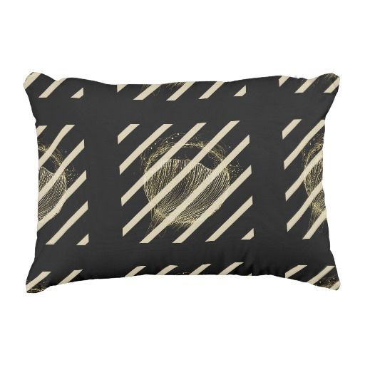 Soul Flight On Black Pillow - Striped Accent Pillow - great artsy decorative cotton pillow for your living room