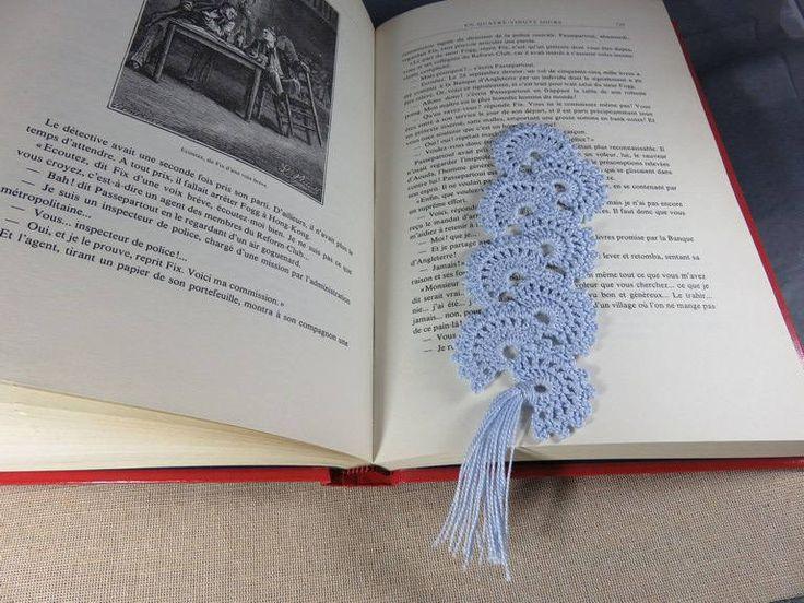Marque-pages crochet, signet eventail, marque-pages bleu, bijoux livres dentelle, marqueur de pages, coton katia, marque-pages de la boutique ArtKen6L sur Etsy