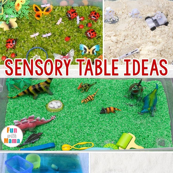 Check out this post for fun sensory table ideas that you can do at home, in a preschool or a daycare setting. These sensory activities for toddlers and preschoolers can be used in sensory bins as well as sensory tables. #daycarerooms