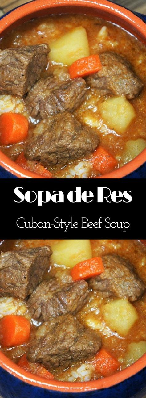 Sopa de Res, or Cuban-style beef soup is a really easy and affordable way to get a home-cooked, nutritious and delicious meal. For this soup, an inexpensive cut of beef is cut into small chunks. The beef is cooked in a rich and flavorful broth that's flavored with onions, garlic and a blend of spices. Then we add potatoes and carrots, and of course, like most Cuban dishes we serve it with white rice.
