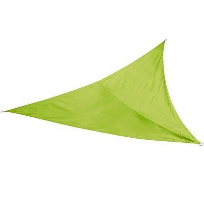 Voile d'ombrage triangulaire de couleur verte avec 3 oeillets en acier. <br>Article conçu pour durer : <br>- acier galvanisé pour résister à la corrosion <br>- traitement déperlant sur la toile <br>Toile 100% polyester 180g/m2. <br>Dim: L3 x 3m <br>Collec