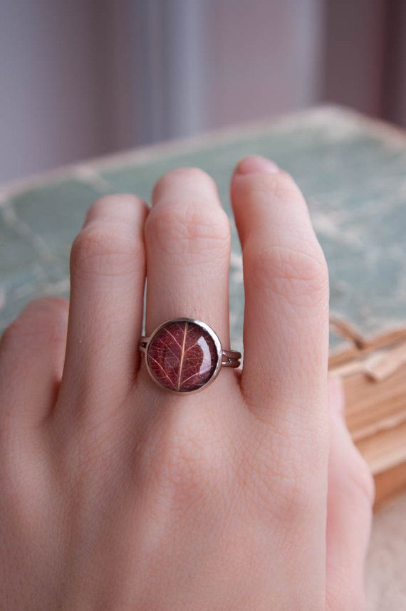 Echte blad ring ingedrukt verlaat sieraden bruin door UralNature