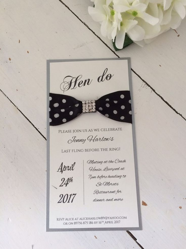 8 Budget Handmade & Personalised Hen Party Invitations Polka Dot & Bling   | eBay
