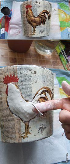 Объёмный декупаж на керамике, МК
