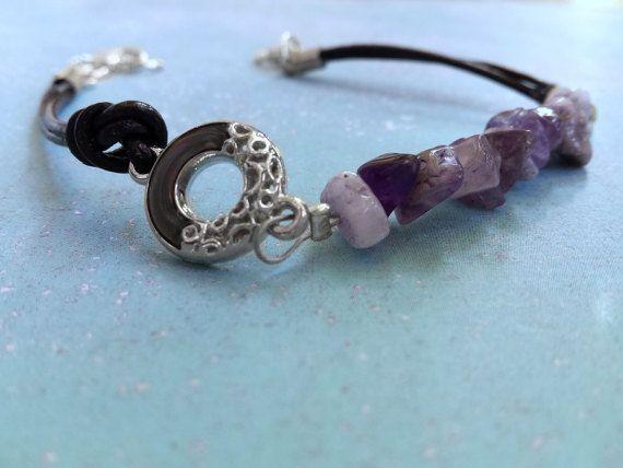 Amethyst leather bracelet/Birthstone bracelet/Metal wreath