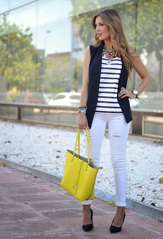 URBAN[summer]: breton top: white jeans; black waistcoat; yellow bag