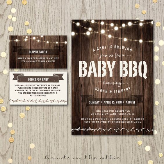Baby BBQ shower backyard baby-Q couples co-ed baby shower invitation card baby boy girl barbecue gender neutral a baby is brewing PDF by HandsInTheAttic