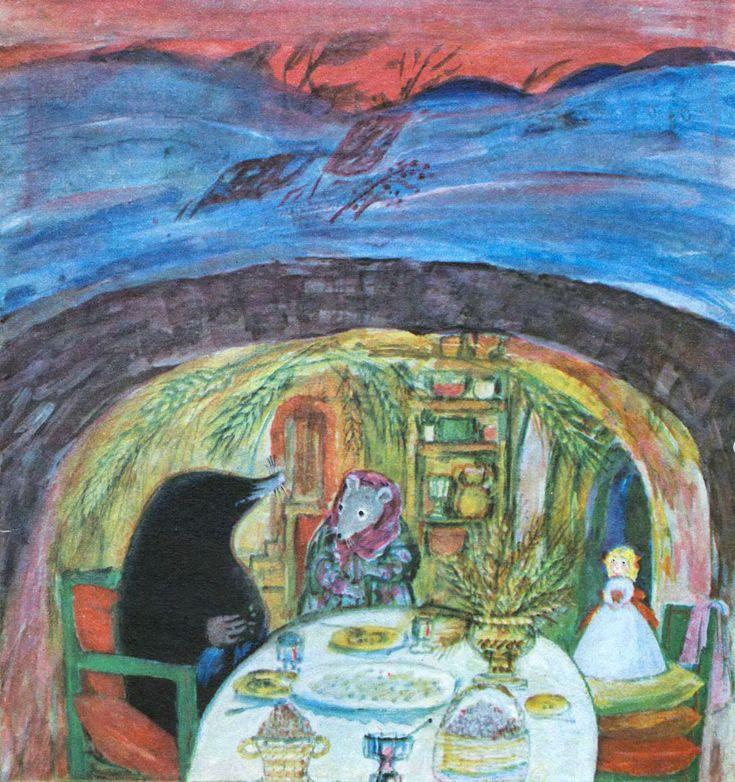 """Дюймовочка"" (худ. Наталья Басманова, 1975): пещера, Крот и Мышь http://doska-obyavleniy-detstva.blogspot.ru/"