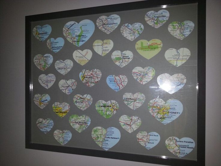 A picture created using a map of Australia, depicting all the places we visited. I used an IKEA Ribba frame.