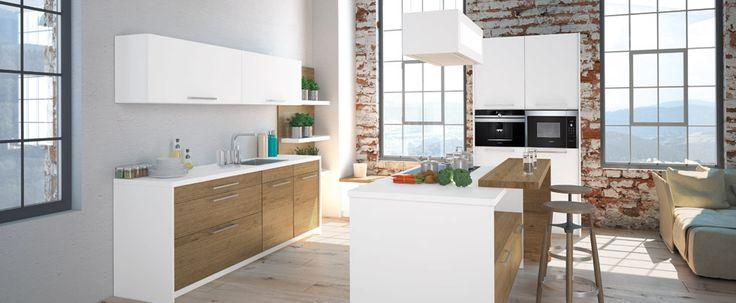 Cuisine Moderne Aubergine : Cuisine  Windsor Darty, bois, blanc, grandes vitres, parquet au sol
