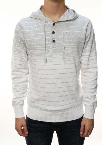 RetroFit Men's Long Sleeve Henley Striped Hoodie « Clothing Impulse