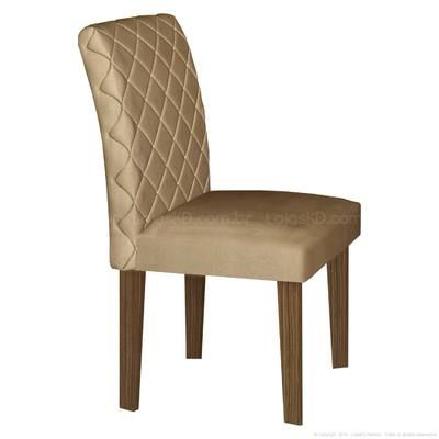 Cadeira Estofada 100% MDF Orion 2 Peças Castanho/Animale Bege - LJ Móveis