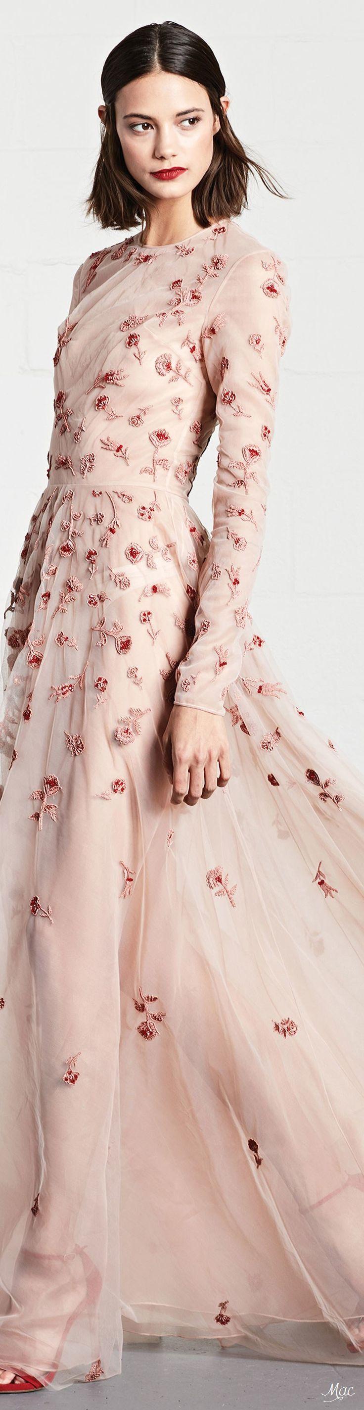 Resort 2018 Dennis Basso, high neck, long sleeve, evening, dress, gown, floor, a-line, ethereal, blush, pink, embellished, beaded