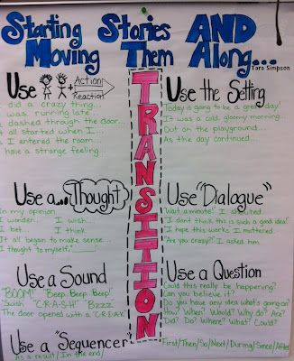 Anchor chart: Moving a story along... from Tara Teaches (blog)