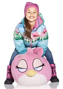 Dětská péřová oboustranná bunda Reima Angry Birds Down Jacket – light blue/pink