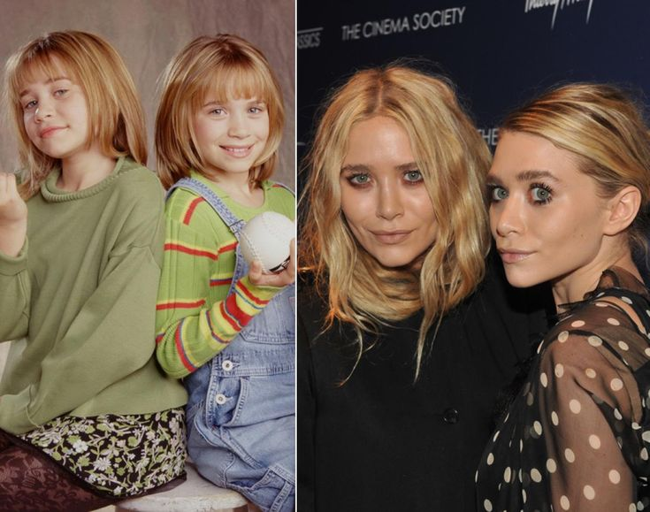 Mary-Kate and Ashley Olsen - then and later.