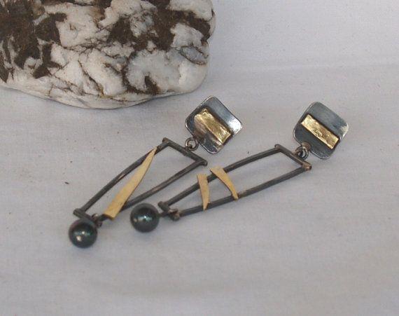 Unieke handgemaakte geoxideerd Zilver Oorbellen van ebben hout, Stud Earrings silver stud earrings, lange oorbellen, Freshwater pearl earrings, gemengde metalen oorbellen