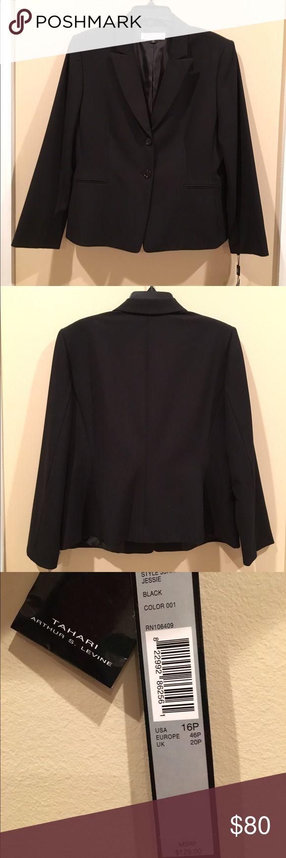 women's petite suit jacket 16P Tahari Arthur S. Levine, 16P, black suit jacket, 2 buttons, 2 front pockets. Tahari Jackets & Coats