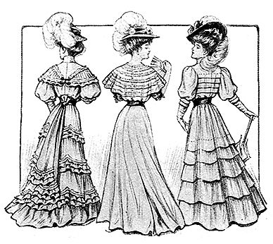 """""""During the Edwardian era, women's dresses were """"fluffy"""" confections of organdy, batiste, dimity or lawn. Each feminine creation was elaborately trimmed with lace, ribbons and tucks. The Ladies Home Journal provided illustrations, patterns and design details for their readers in the summer of 1907."""""""