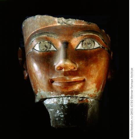 Fragment of a statue from the queen's temple at Deir el-Bahari representing Hatshepsut in the form of Osiris. Date/Period: 18th Dynasty, c. 1475 BC.