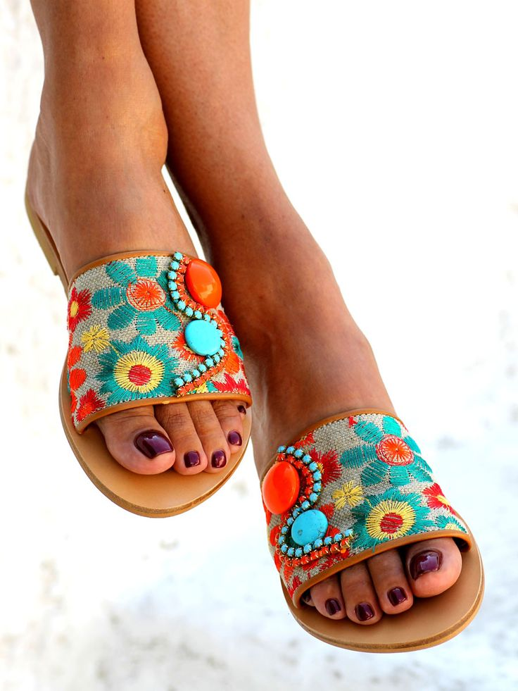 Crafted with a beautiful linen fabric featuring embroidered flowers, handsewn Precioza crystals and turquoise stones, they are cheerful,effortlessly comfortable and groovy!