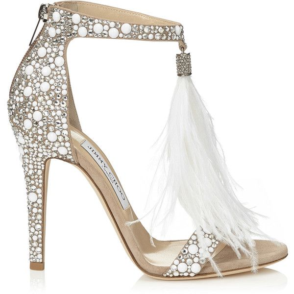 White Suede and Hot Fix Crystal Embellished Sandals with an Ostrich... ($1,875) ❤ liked on Polyvore featuring shoes, sandals, heels, tassel shoes, jimmy choo sandals, crystal embellished sandals, white sandals and suede leather shoes
