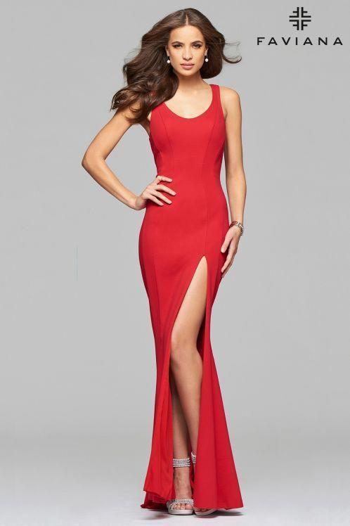 a562936370a Faviana 7901 Open Back Dress. Red Prom Dresses