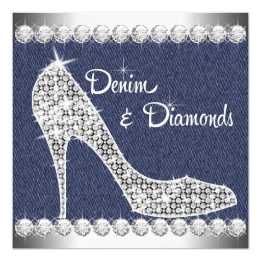 Elegant sparkling diamond high heel shoes blue denim and diamonds birthday party invitations. This adorable denim and diamond birthday party invitation is perfect for a sweet sixteen birthday party, Quinceanera, girl and womans any number birthday party invitations, or denim and diamond theme party or event. Add your details to the front and/or back by adding your event details, font style, font size & color, and wording.