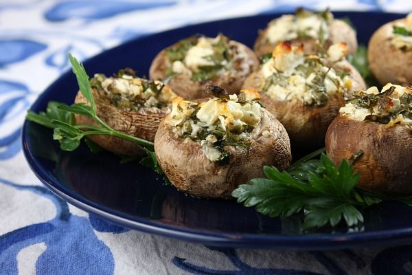 Feta-Stuffed Mushrooms appetizer recipe with a low-calorie count...2 smart points/serving