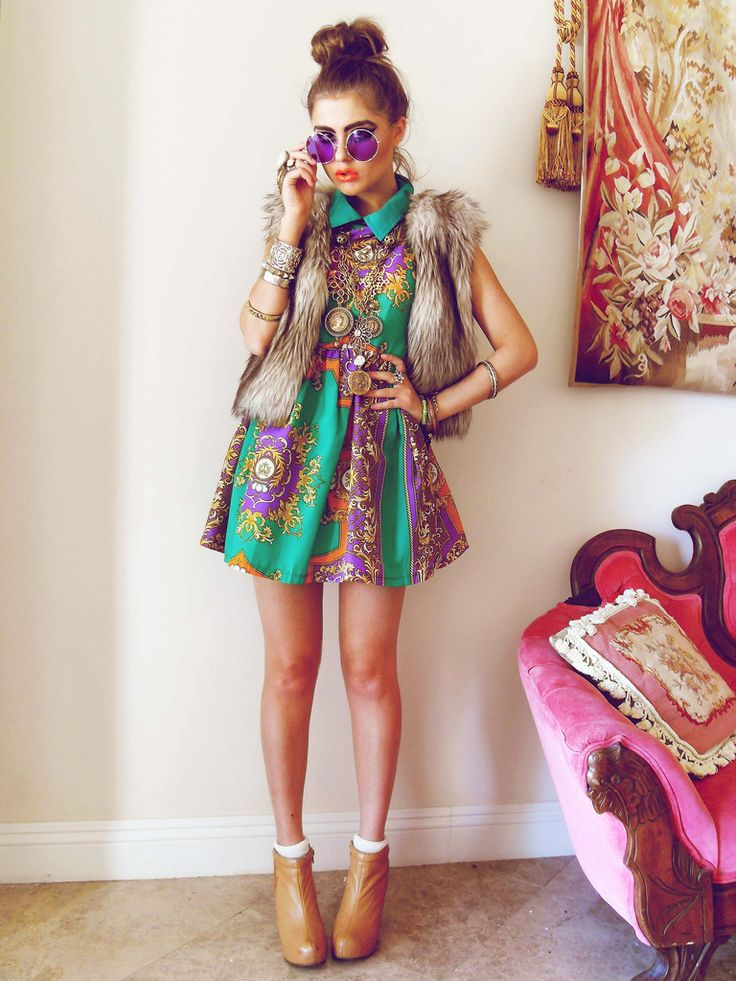 FATED TO BE HATED: HAPPY GO LUSH ||| faux fur vest || Mardi Gras outfit??