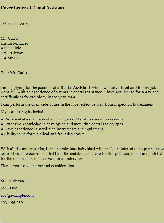 cover letter for dental assistant hr