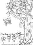 Printable Easter coloring book pictures for Sunday school.  Picture of Spring scene for Easter Sunday school lesson for preschool children. .