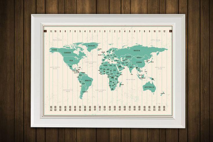 Digitaldruck - Weltkarte mit Zeitzonen / World Map - ein Designerstück von KriK bei DaWanda