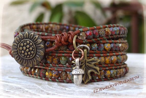 Fall Wrap Bracelet Sunflower Leather Wrap by AZJEWELRYBYELIZABETH