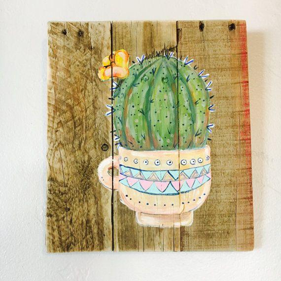 Cactus en una Copa del colgante de pared por RusticSplinters