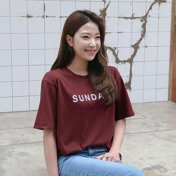 ♡sundayロゴ半袖Tシャツ♡ #レディースファッション #ファッション通販 #ファッショントレンド #新作 #最新 #モテ服 #韓国ファッション #韓国レディース通販 #ootd #wiw  #fashionaddict #womensfashion #fashion  https://goo.gl/9yLt2o